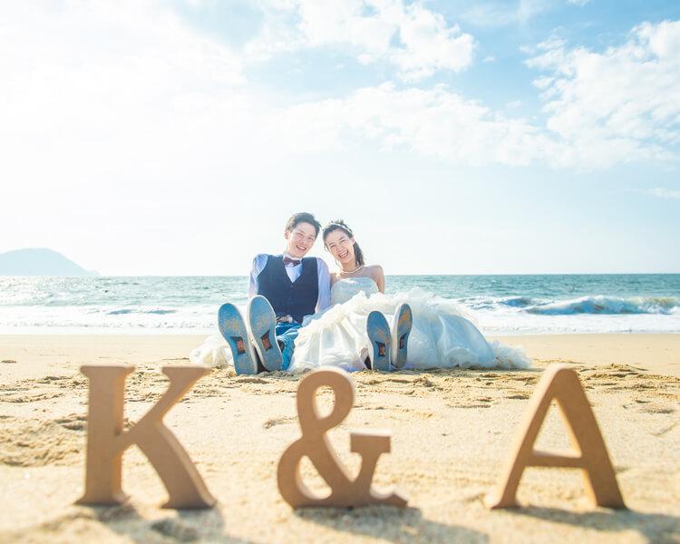 福岡 志賀島海での前撮り│福岡の前撮り・フォトウェディングはTHE WEDDING TOWN